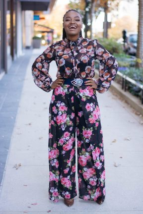 blogger, ootd floral print pants suite, all smiles